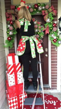 Christmas Front Door by Ba Bam Wreaths Outdoor Christmas Presents, Fall Christmas Tree, Whoville Christmas, Front Door Christmas Decorations, Diy Christmas Garland, Christmas Front Doors, Homemade Christmas Decorations, Christmas Tree Themes, Christmas Projects