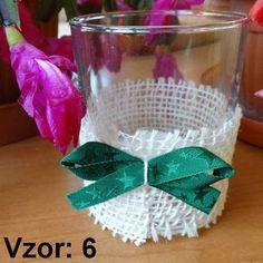 Svietnik sklenený s mašľou - Sviečka - S čajovou sviečkou (plus 0,10€), Vzor - Vzor 6
