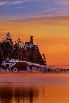 ~~Split Rock Lighthouse Sunrise ~ a serene Lake Superior, Silver Bay, Minnesota by RJIPhotography~~