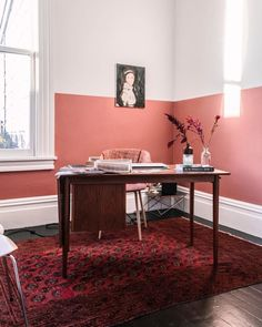 My Terracotta Home Office - imagens de French By Design Decor, Room, Modern Home Offices, Half Painted Walls, Coral Walls, Living Room Decor, Home Decor, Living Room Wall, Two Tone Walls