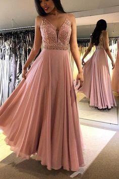 6e56a476a17011 Charming V neck Appliques A Line Prom Dress