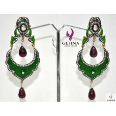 Ruby & Moissanite Stone Studded .925 Silver Earrings With Green Meena Work