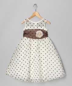 Look at this #zulilyfind! Ivory & Brown Polka Dot Dress - Toddler & Girls by Kid's Dream #zulilyfinds