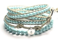Leather wrap bracelet, turquoise beads, love how soft this looks, may have to make this