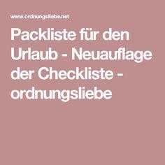 Packliste für den Urlaub - Neuauflage der Checkliste - ordnungsliebe