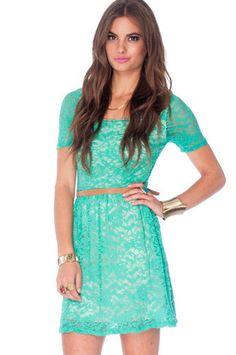 Fresh Lace Dress in Spearmint