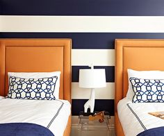 decorating a boys room- love the pattern, navy blue and orange combo..