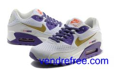 reputable site 7b342 94b4c Vendre Pas Cher Femme Chaussures Nike Air Max 90 (couleur jaune,blanc, pourpre) en ligne en France.