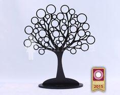 Wooden CIRCULAR Jewelry Tree Stand BLACK /Jewelry Organizers /Jewelry Stands /Jewellery Holders/Jewelry Organiser, original handmade