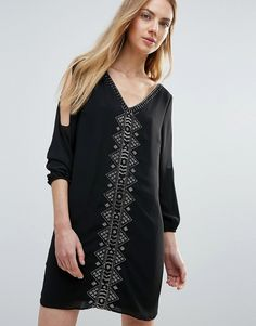 Buy it now. Greylin Vira Open Sleeve Beaded Shift Dress - Black. Casual dress by Greylin, Heavyweight lined chiffon, V-neck, Cold-shoulder design, Statement bead embellishment, Button cuffs, Regular fit - true to size, Dry clean, 100% Polyester, Our model wears a UK S/EU S/US S and is 176cm/5'9.5 tall. , vestidoinformal, casual, camiseta, playeros, informales, túnica, estilocamiseta, camisola, vestidodealgodón, vestidosdealgodón, verano, informal, playa, playero, capa, capas…