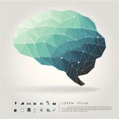 Vector Art : brain polygon with business icon