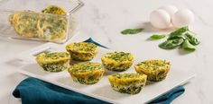 Spinach and Cheese Muffin Tin Frittatas Recipe Eggs In Muffin Tin, Muffin Tin Recipes, Muffin Tins, Egg Recipes, Great Recipes, Cooking Recipes, Recipies, Mini Frittata, Spinach Frittata