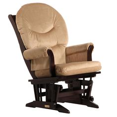 "Dutailier Ultramotion- Sleigh Glider- Espresso Finish and Light Brown Fabric - Dutailier - Babies""R""Us"