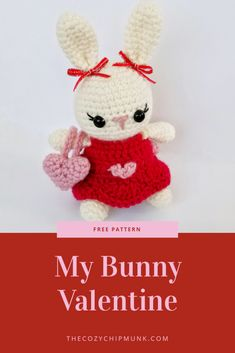 A free Valentine's Day Amigurumi Bunny Pattern. Featuring a Valentine's Day dress, heart bag and pillow! Holiday Crochet, Crochet Gifts, Crochet Toys, Crochet Animals, Crochet Things, Crochet Bunny, Cute Crochet, Amigurumi Patterns, Crochet Patterns