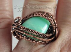 Antiqued Copper Woven Wire and Chrysoprase Cabochon Ring