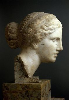 "marmarinos: ""Detail of a head of Aphrodite, inspired by Praxiteles's Aphrodite of Knidos. Though the source does not specify which copy this image depicts, the head bears a resemblance to the Kaufmann head of Aphrodite, a Roman copy dated to the Ancient Greek Sculpture, Ancient Greek Art, Greek Statues, Roman Sculpture, Art Sculpture, Sculptures, Greek History, Art History, Sculpture Romaine"
