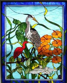 I love stained glass.maybe one of these days I'll have a beautiful piece like this to call my own/Stained Glass Heron & Ibis-Design with permission from Preston Studios Tiffany Stained Glass, Custom Stained Glass, Stained Glass Flowers, Stained Glass Lamps, Stained Glass Designs, Stained Glass Panels, Stained Glass Projects, Stained Glass Patterns, Custom Glass