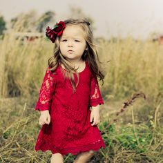 The Chloe Lace Flower Girl Dress - Red - MyWedStyle.com