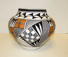 ACOMA Collector Large Fine Pottery Hand Coiled by Beverly Garcia Native American Pueblo Pottery