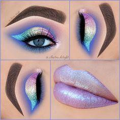 "On the lid: Stila magnificent metals glitter in ""diamond dust"" In the crease : ""creme brulee"", ""concrete jungle"", ""americano"" and ""corrupt"" from Makeup gee Eye Makeup Designs, Eye Makeup Art, Kiss Makeup, Makeup Geek, Eyeshadow Makeup, Makeup Addict, Eyeliner, Beauty Makeup, Beautiful Eye Makeup"