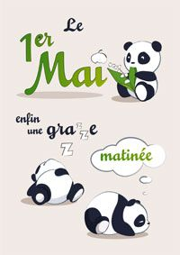 1er Mai 1. Mai, Lily Of The Valley, Lettering, Panda, Messages, Illustration, Fun, Deco, Moths Of The Year