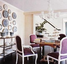 Vintage Dining Room maybe diff chairs but love the plate wall!