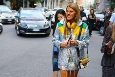 Anna Dello Russo in Miu Miu coat, skirt, and bag