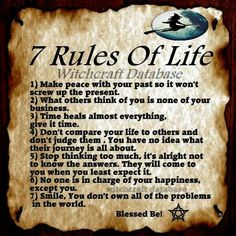 7 rules.....of a wiccan life now how can she say she's too busy loving God when she's posting wiccan rules? Either she's stupid or Hippocratic oh wait she's blonde yeah it's both