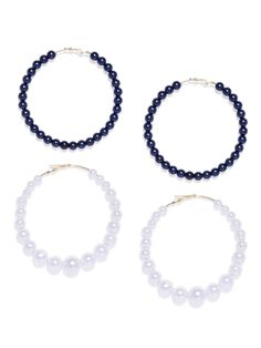 Zaveri Pearls Combo Of 2 Contemporary Style Beaded Hoop Earring – Jumkey Fashion Jewellery