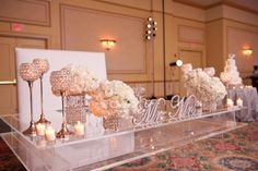 Love this table!!!   Stephanie and Joel had an elegant, all white wedding at theGesu Churchfollowed by their beautiful reception at the JW Marriot Miamiwhere they celebrated with friends and family. This January wedding was so stunning and was captured by the amazing photographer, Manolo Doreste of In Focus…