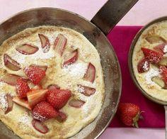 Rezept: Grießpfannkuchen mit Rhabarber