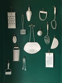 The client gave me some vintage kitchen tools she had lying around.I spraypainted them and turned them into a wall art installation for the vestibule! Vestibule, Art Installation, Kitchen Tools, Vintage Kitchen, Give It To Me, Wall Lights, Restaurant, Vegan, Wall Art