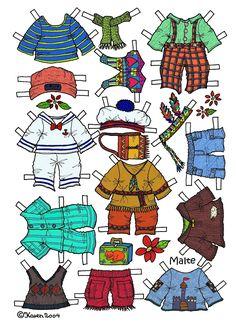 Karen`s Paper Dolls: Malte 1-2 Paper Doll in Colours. Malte 1-2 påklædningsdukke i farver.