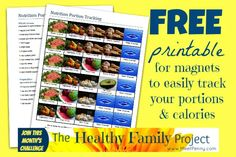 FREE printable ~ Visual to help track portions for either a 1,800 or 1,500 calorie well-balanced diet from MeetPenny and the Fit Momma File, part of the Healthy Family Project.