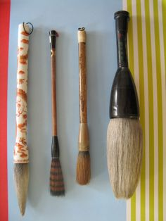 It is the use of brushes that enables the writing of Chinese to be developed   into an art form. The elasticity of the hair used to make the brush, the   tapering of the tuft of the brush are very important