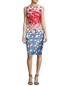 Sleeveless Floral Cocktail Dress, Blue/Red by David Meister at Neiman Marcus