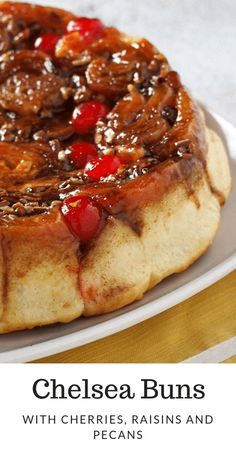 Chelsea Buns are your festive, colorful cinnamon rolls with all the delightful add-ons like raisins, pecans and cherries.#stickybuns #cinnamonrolls #sweetbuns