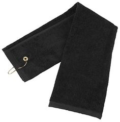 Flammi TriFold Pure Cotton Golf Sports Towel with Grommet Include Metal Clip Black 1Pack *** Click image for more details. Note:It is Affiliate Link to Amazon.