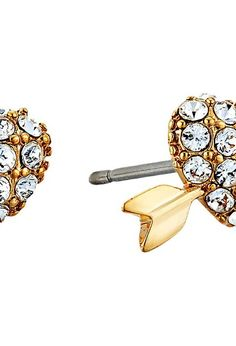 Kate Spade New York Be Mine Heart and Arrow Studs (Clear/Gold) Earring - Kate Spade New York, Be Mine Heart and Arrow Studs, WBRUD284-921, Jewelry Earring General, Earring, Earring, Jewelry, Gift, - Fashion Ideas To Inspire