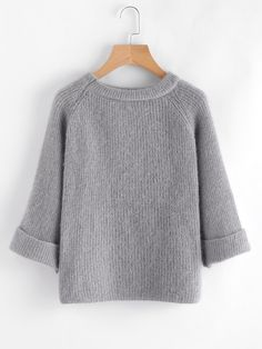 SheIn offers Cuffed Raglan Sleeve Sweater & more to fit your fashionable needs. Winter Wear, Autumn Winter Fashion, Loose Sweater, Mode Hijab, Vintage Knitting, Cozy Sweaters, Sweater Outfits, Crochet Clothes, Pulls