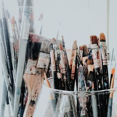 """Gill Douglas on Instagram: """"See, I told you... The average life expectancy of a paint brush left in my care is extremely low.... I present to you the survivors 😉…"""" Contemporary African Art, I Care, Paint Brushes, Collage Art, My Eyes, Told You So, Studio, Portrait, Prints"""