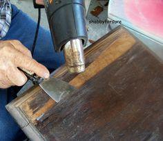 Shabby For Sure: How to remove wood veneer and repair battered furniture. Furniture Repair, Furniture Projects, Furniture Makeover, Painted Furniture, Diy Furniture, Refinished Furniture, Antique Restoration, Furniture Restoration, Wood Repair