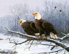 Pintura de dos águilas posadas en una rama