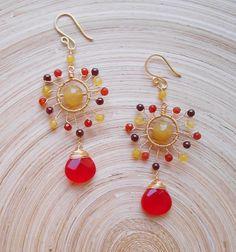 Sienna gemstone chandelier earrings orange red yellow wire