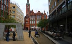 The new development adjacent to Birmingham's Ikon Gallery has been planned to give the old landmark building a prominent place in the street scene. The red brick building also acts as a local landmark to help people with wayfinding and it gives a sense of character and identity. Image courtesy of Sandra Manley, UWE. Brick Building, Red Bricks, Ikon, Birmingham, Identity, Old Things, Street View, Scene, Gallery