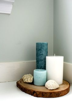 Sometimes the subtlest greens are the most aesthetically pleasing especially in bathrooms. For the perfect soothing hue try Sea Salt SW To complete the beachy theme adorn the countertop with sea shells and candles then draw a bubble bath and enjoy. Diy Bathroom, Budget Bathroom, Master Bathroom, Bathroom Sets, Sea Bathroom Decor, Design Bathroom, Turquoise Bathroom Decor, Bathroom Candles, Bathroom Green