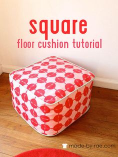 Sewing Fabric Free Sewing Pattern and Tutorial - Square Floor Cushion - Got too many fabric scraps and you don't know what to do with them? This square floor cushion might just be the solution. Using your fabric scraps to Sewing Hacks, Sewing Tutorials, Sewing Projects, Sewing Crafts, Diy Crafts, Free Tutorials, Sewing Ideas, Sewing Patterns Free, Free Sewing