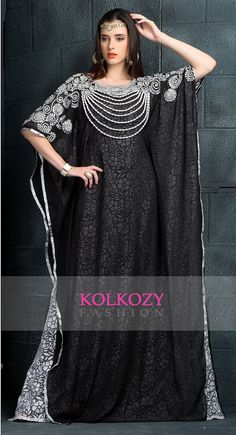 Premium Black & White Kaftan Dress  Designer Arabic by KolkozyShop