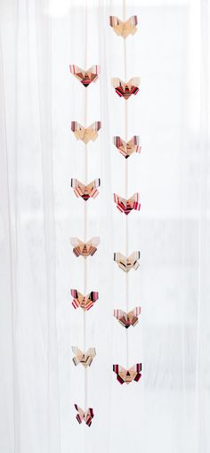 Room decor - Garland, Fabric Origami butterflies.
