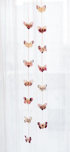 Room decor - Garland, Fabric Origami butterflies.